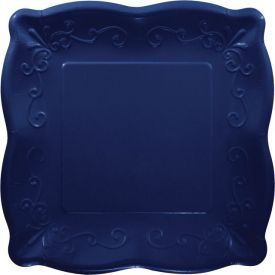 NAVY LUNCHEON PLATE, EMBOSSED SQUARE