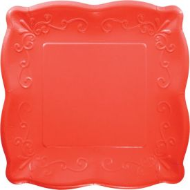 CORAL RED LUNCHEON PLATE, EMBOSSED SQUARE