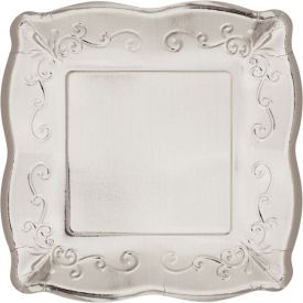 SILVER LUNCHEON PLATE, EMBOSSED SQUARE
