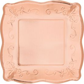 ROSE GOLD LUNCHEON PLATE, EMBOSSED SQUARE