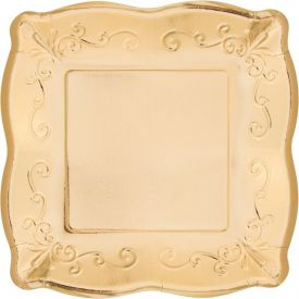 GOLD LUNCHEON PLATE, EMBOSSED SQUARE
