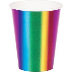 RAINBOW FOIL HOT/COLD CUPS 9 OZ., RAINBOW FOIL