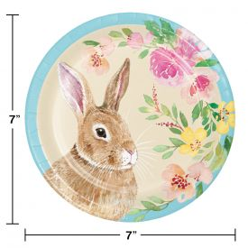WATERCOLOR EASTER BUNNY DESSERT PLATES, LUNCHEON PLATE