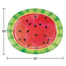 SLICE OF WATERMELON OVAL PAPER PLATES, OVAL PLATTER