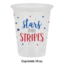 STARS AND STRIPES PLASTIC CUPS, 16OZ PLASTIC CUP, CLEAR, STARS AND STRIPES