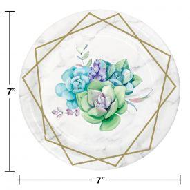 Geometric Succulents Dessert Plates, LUNCHEON PLATE