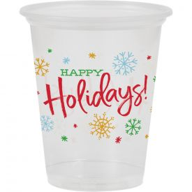 16OZ PLASTIC CUP, CLEAR, HAPPY HOLIDAYS