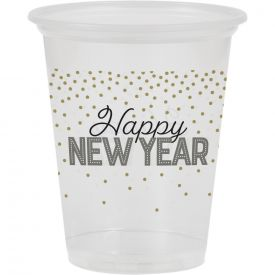 16OZ PLASTIC CUP, CLEAR, HAPPY NEW YEAR