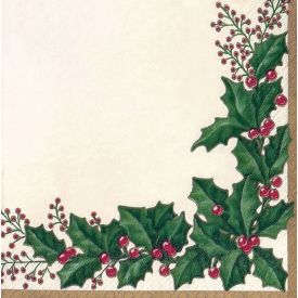 Winter Holly Dinner Napkins 3-Ply