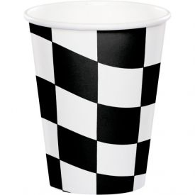 Black & White Check Cups, Hot/Cold 9 oz