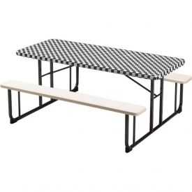 Black Check Stay Put Plastic Table Covers 30