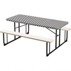 Black Check Stay Put Plastic Table Covers 29