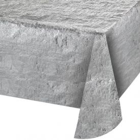 Silver Metallic Table Cover 54