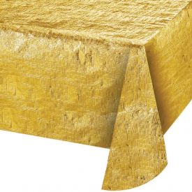 Gold Metallic Plastic Table Cover 54