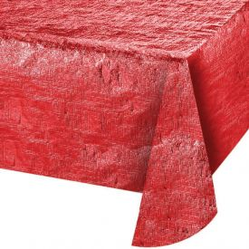 Red Metallic Plastic Table Covers 54