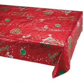 Holiday Red Holly Metallic Table Covers 54