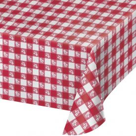 Red Gingham Table Cover Plastic 54