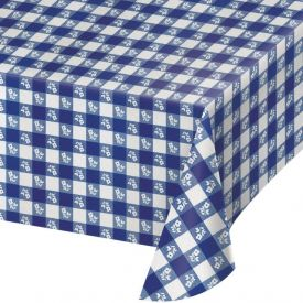 Blue Gingham Table Cover, Plastic 54