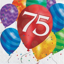 Balloon Blast Lunch Napkins, 2-Ply, 75th Birthday