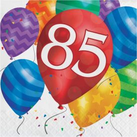 Balloon Blast Lunch Napkins, 2-Ply, 85th Birthday