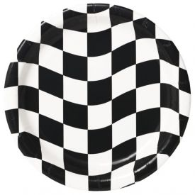 Black & White Check Paper Dinner Plates 9