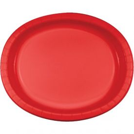 Classic Red Paper Oval Platters 10