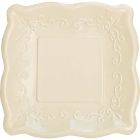 Linen Banquet Plates Square Scalloped Embossed 10
