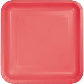 Coral Appetizer or Dessert Paper Plates Square 7