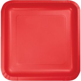 Classic Red Appetizer or Dessert Paper Plates Square 7