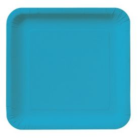 Turquoise Paper Dinner Plate Square 9