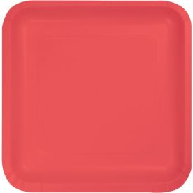 Coral Paper Dinner Plate Square 9