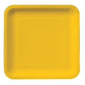 School Bus Yellow Plastic Dinner Plate Square 9