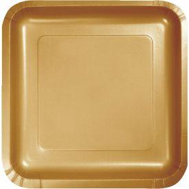 Glittering Gold Paper Dinner Plate Square 9