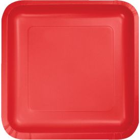 Classic Red Paper Dinner Plate Square 9