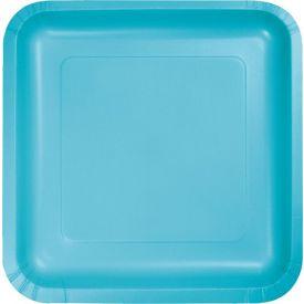Bermuda Blue Paper Dinner Plate Square 9