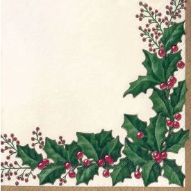 Winter Holly Beverage Napkins 3-Ply