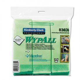 WypAll* Microfiber Cloths with Microban; Protection, Green