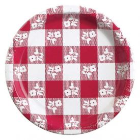 Red Gingham Paper Dinner Plates High-Count 9