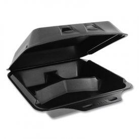 Pactiv SmartLock; Lid Foam Food Container, 3-Comp, 9 x 9-1/2 x 3-1/4