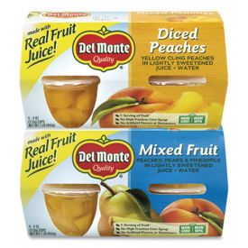 DEL MONTE Diced Peaches & Mixed Fruit Cups 4oz.