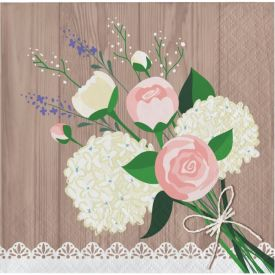 Rustic Wedding Beverage Napkins 3-Ply