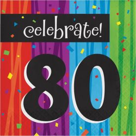 Milestone Celebrations Lunch Napkins, 3-Ply, 80th