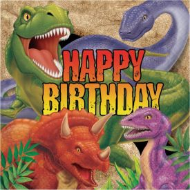 Dino Blast Lunch Napkins, 3-Ply, Happy Birthday