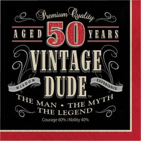 Vintage Dude Lunch Napkins, 3-Ply, 50th