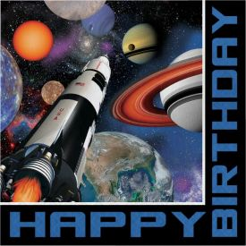 Space Blast Lunch Napkins, 3-Ply, Hpy Bday