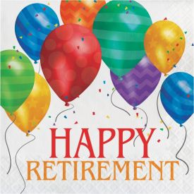 Balloon Blast Lunch Napkins, 2-Ply, Happy Retirement
