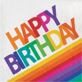 Rainbow Lunch Napkins, 3-Ply, Happy Birthday