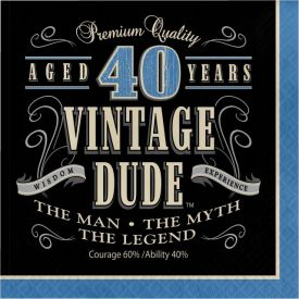 Vintage Dude Lunch Napkins, 3-Ply, 40th