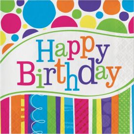 Bright And Bold Lunch Napkins, 2-Ply, Happy Birthday