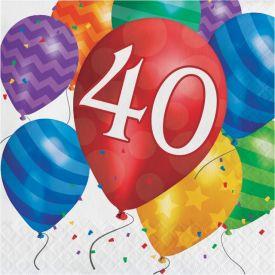 Balloon Blast Lunch Napkins, 2-Ply, 40th Birthday